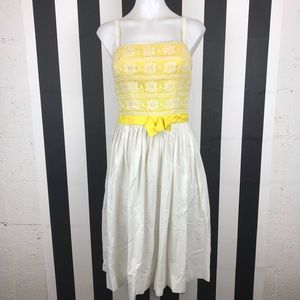 5 for $25 Petti VTG Yellow Lace Fit & Flare Dress
